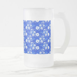 White Plumeria and Vines on Royal Blue Frosted Glass Beer Mug