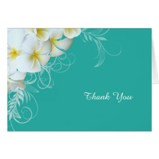 White Plumeria Flourish Blue Custom Thank You Note Card