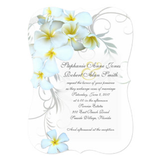 "White Plumeria Flourish Wedding Invitations 5"" X 7"" Invitation Card"