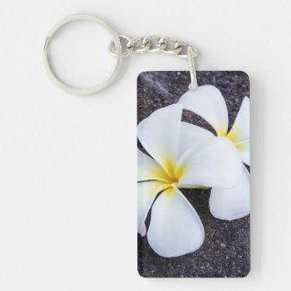 White Plumeria Flower Frangipani Floral Lava Rock Keychain