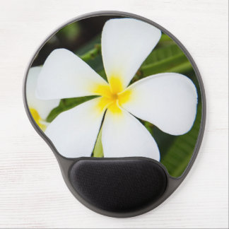White Plumeria Flower - Frangipani Floral Template Gel Mouse Pad