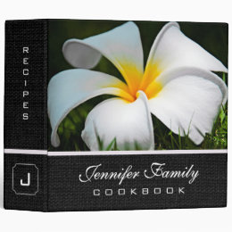 White Plumeria Frangipani Hawaii Flowers 3 Ring Binder