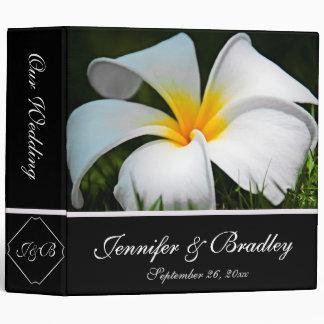 White Plumeria Frangipani Hawaii Flowers Wedding 3 Ring Binder