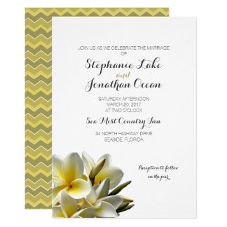White Plumeria Hawaiian Flowers Wedding Invitation