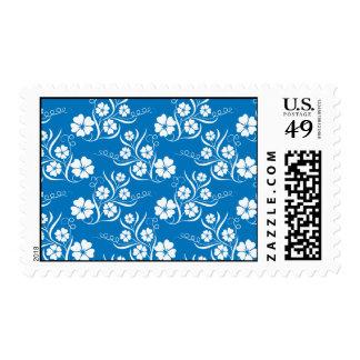 White Plumeria on Blue Pattern Postage Stamp
