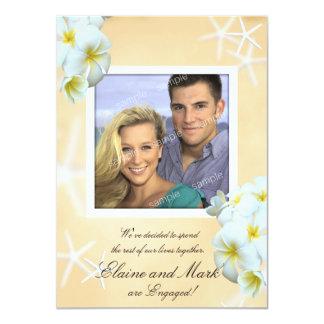 White Plumeria Photo Marriage Announcement