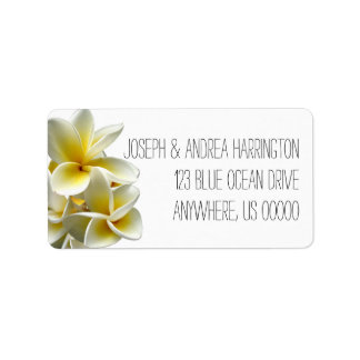 White Plumeria Tropical Return Address Labels