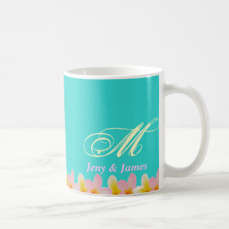 White Plumeria Wedding Monogram Mug Gifts Favor Mug