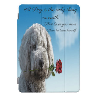 White poddle dog puppy with a red rose Dog Quote iPad Pro Cover