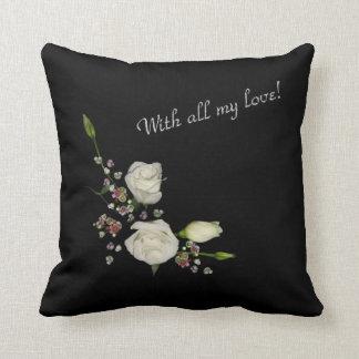 White poem throw pillow