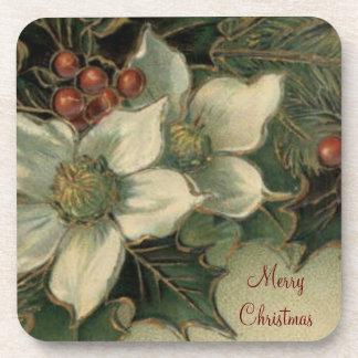 White Poinsettia Christmas Cork Coaster