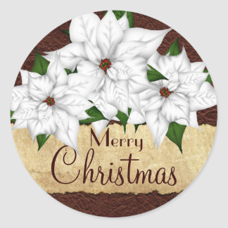 White Poinsettia Christmas Holiday Stickers