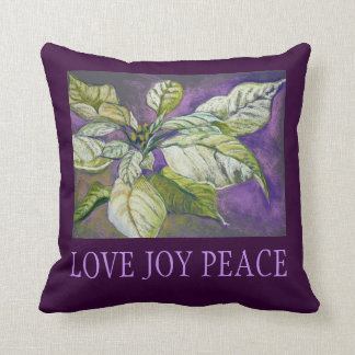 White Poinsettia Holiday Fine Art Pillow