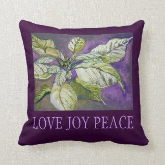 White Poinsettia Holiday Fine Art Pillow