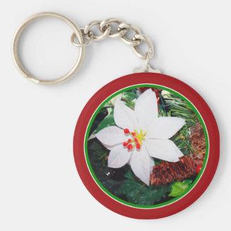 White Poinsettia Keychain
