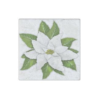 White Poinsettia Marble Stone Coaster Stone Magnet