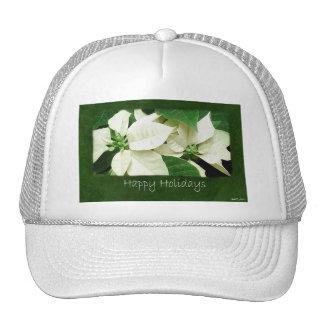 White Poinsettias 1 - Happy Holidays Trucker Hats