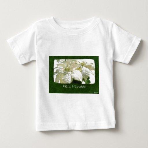 White Poinsettias 2 - Feliz Navidad Baby T-Shirt