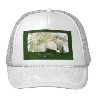 White Poinsettias 2 - Happy Holidays Hats