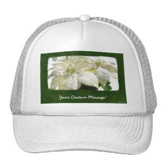 White Poinsettias 2 Hat
