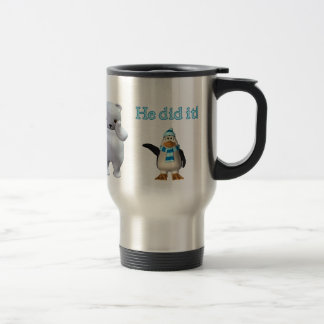 White Polar Bear and Bad Penguin Travel Mug