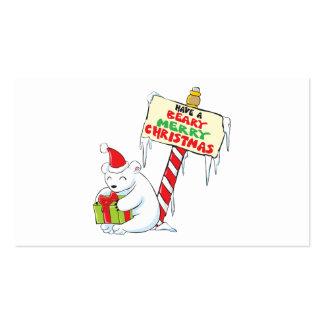 White Polar Bear Christmas Custom Invitation Stamp Business Card Templates