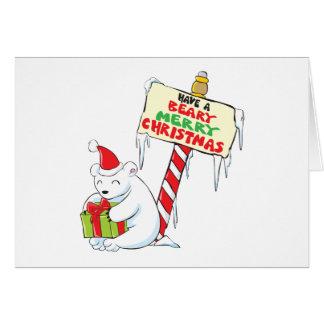 White Polar Bear Christmas Custom Invitation Stamp Greeting Card