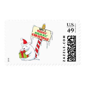 White Polar Bear Christmas Custom Invitation Stamp