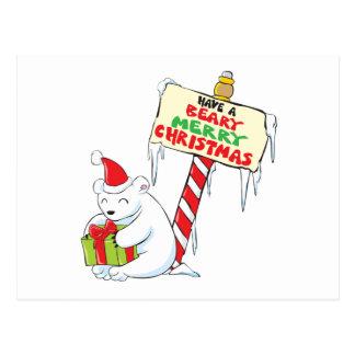 White Polar Bear Christmas Custom Invitation Stamp Postcards
