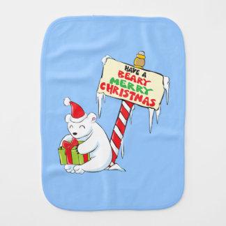 White Polar Bear Christmas Custom Invitation Stamp Burp Cloth