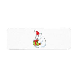 White Polar Bear Christmas Custom Mugs Buttons Hat Label
