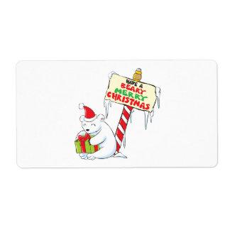 White Polar Bear Christmas North Pole Custom Cards Label