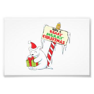 White Polar Bear Christmas North Pole Custom Cards Photo