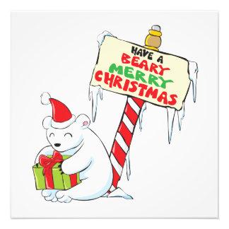White Polar Bear Christmas North Pole Custom Cards Photo Art