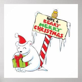 White Polar Bear Christmas North Pole Custom Cards Poster