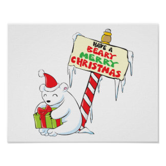 White Polar Bear Christmas North Pole Custom Cards Print