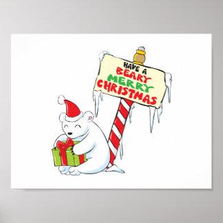 White Polar Bear Christmas North Pole Custom Cards Posters