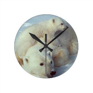 White Polar Bear Family Round Clock