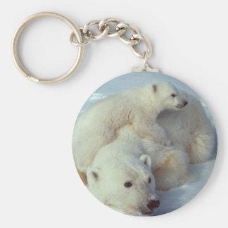 White Polar Bear family Keychain