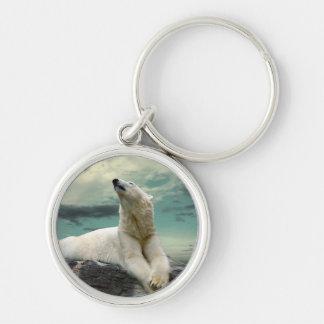 White Polar Bear Hunter on rock Keychain