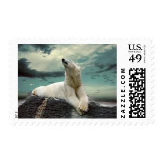 White Polar Bear Hunter on rock Postage
