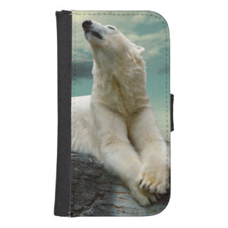 White Polar Bear Hunter on rock Wallet Phone Case For Samsung Galaxy S4