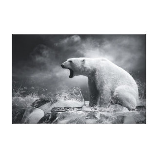 White Polar Bear Hunter on the Ice in water Canvas Print
