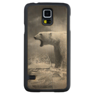 White Polar Bear Hunter on the Ice in water Carved Maple Galaxy S5 Slim Case