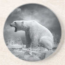 White Polar Bear Hunter on the Ice in water Drink Coaster