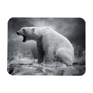 White Polar Bear Hunter on the Ice in water Magnet