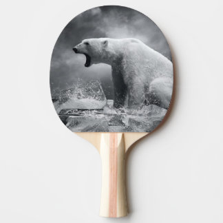 White Polar Bear Hunter on the Ice in water Ping-Pong Paddle