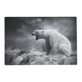 White Polar Bear Hunter on the Ice in water Placemat