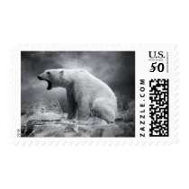White Polar Bear Hunter on the Ice in water Postage
