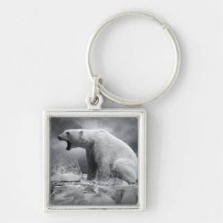 White Polar Bear Hunter on the Ice in water Silver-Colored Square Keychain